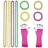 Keriber 10 Stück Kunststoff Neon Perlen Halsketten Neon Armbänder lange Fischnetz Handschuhe Set 80er Party Kleid Zubehör, Mehrfarbig