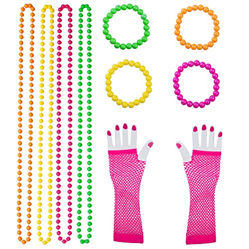 10 Pieces Plastic Neon Bead Necklaces Neon Bracelets Long Fishnet Gloves Set 80s Party Dress Accessories