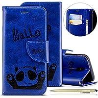 Herbests Handytasche für Samsung Galaxy J5 2017 Lederhülle Niedlich 3D Panda Muster Flip Case Cover Hülle Leder Klapphülle Leder Tasche im Bookstyle Handyhülle Brieftasche Schutzhülle,Blau