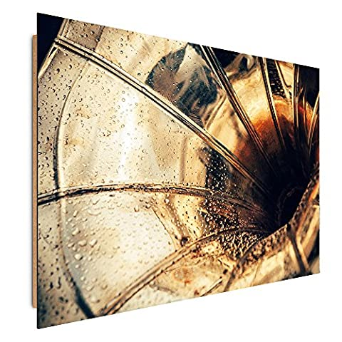 Feeby Frames, Tableau mural, Tableau Déco, Tableau imprimé, Tableau Deco Panel, 70x100 cm, APPAREIL, GRAMOPHONE, TUBA, MUSIQUE, BRUN