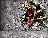 LHDLily 3D Wandbild Tapete Wallpaper Fresken Mural 3D Wallpaper 3D Brick Wall Restwanddicke Der Jurassic Dinosaurier Grau Tv-Kulisse Wohnzimmer Schlafzimmer Wandbild Papel De Parede 350cmX250cm