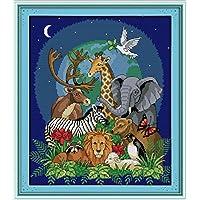 14K YEESAM nuovo punto croce, ricamo, Mondo Animale Wildlife 34× 39cm Tela Croce cucito fai da te ricamo Set Bianco Fatto A Mano Regalo Di Natale Kit per punto croce