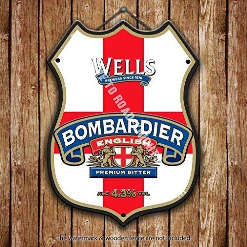 Well's Bombardier englische Premium Bier Werbe bar, alte Pub Drink Pumpe Abzeichen Brewery Fass Fass FASSBIER Real Ale Pint Alkohol Hops Form Metall/Stahl Wandschild - 27 x 20 cm