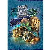 NINGSANJIN DIY 5d Diamant Stickerei Painting Voll,Tiger und Leopard Muster Handgemachtes Klebebild Runder Diamant Malerei Stickpackungen mit Digitale Sets Kreuzstich