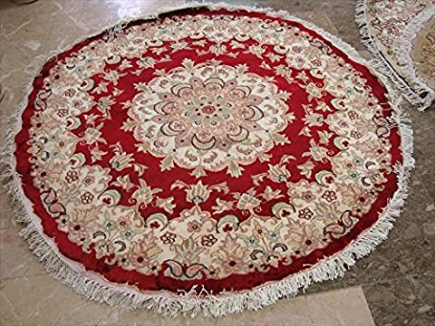 Round Area Rug Red Medallion Floral Oriental Wool Silk Hand Knotted Carpet (4 x 4)'