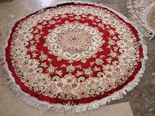 rund-bereich-teppich-rot-medaillon-floral-oriental-wolle-seide-handgeknotet-teppich-4-x-4-