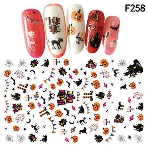 Nagellack Internet Nail Art Decals Halloween Maniküre Transfer Aufkleber (12*7.5cm, G) (Transfers Halloween Nail)