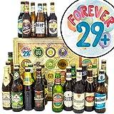 Forever 29 + | Bier Set | Biere der Welt und Deutschland | Forever 29 + | Biergeschenk Box | 30 er Geburtstag Geschenk | Geschenk 30 Geburtstag Freund | GRATIS 6x Geschenk Karten + Umschlage, 3 Urkunden, Bierbewertungsbogen