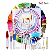 #4: 140 Pieces Embroidery Cross Stitching Punch Needle Kit, Full Range of Embroidery Starter Kit Including Magic Embroidery Pen Punch Needle, 5 Embroidery Hoops, 2 Cross Stitch Cloth, 100 Threads