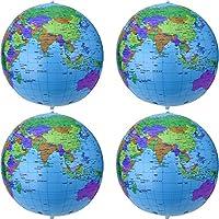 16 Pulgadas de Globo Inflable Globo de Tierra Inflable Bola de Playa para Juego en Playa Educativo, Colorido (4 Piezas)