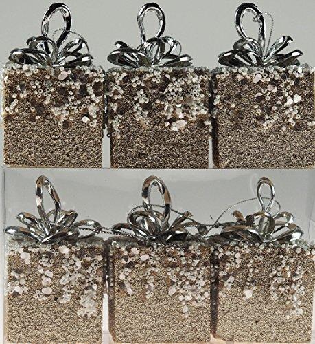 Set di 6pacchi regalo glitter champagne palline per albero di natale, decorazioni