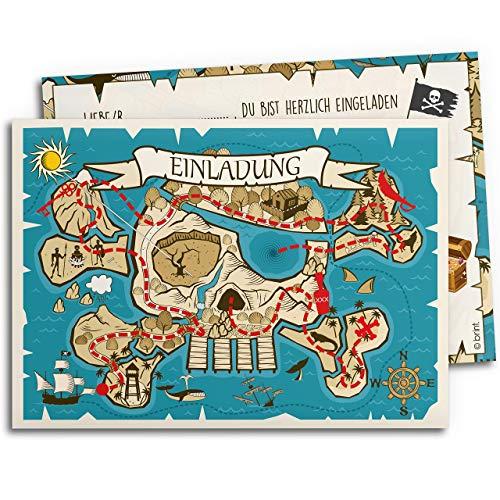 15x Einladungskarten für Kindergeburtstag | Piraten-Schatzkarte | Einladungen für Jungen | Einladungskarten Geburtstag Kinder Junge Pirat | Geburtstagseinladungen Schatzsuche Partyeinladungen Jungs
