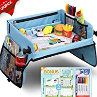 Loori Baby Car Trays, Transparent Erasable Drawing Surface, Seat Travel Tray with 16 Mesh Pockets, 6 Color Brushes and 5 Drawing Papers, Child Play Activity Tray for Car/Stroller/Plane