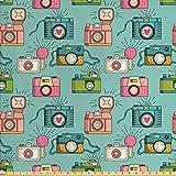 ABAKUHAUS Retro Tela por Metro, Hipster Cámaras De Fotos, Decorativa para Tapicería y Textiles del Hogar, 2M (160x200cm), Multicolor