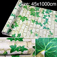 LIJINGFANG Green Leaf White Brick Creative 3D Stone Brick Decoration Wallpaper Stickers Bedroom Living Room Wall Waterproof