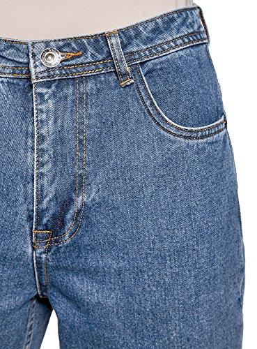oodji Ultra Donna Jeans Mom Fit a Vita Alta Blu (7500W)