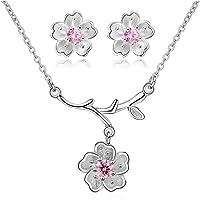 Uloveido - Completo collana e orecchini a forma di fiori di ciliegio Sakura, DT340