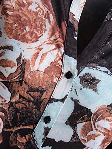 Mocca by J.L. Damen Shirtbluse mit Print & Hemdkragen Bunt