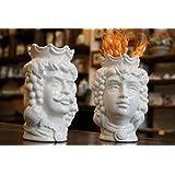 """Testa di moro in ceramica siciliana""""bianco"""" 14 cm coppia""""CON DEDICA A VOSTRA SCELTA"""""""