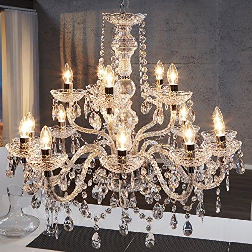 Riesiger XL Kronleuchter 15-armig Lüster klar Hängelampe Leuchter Lampe (Alle Glas-kristall-kronleuchter)