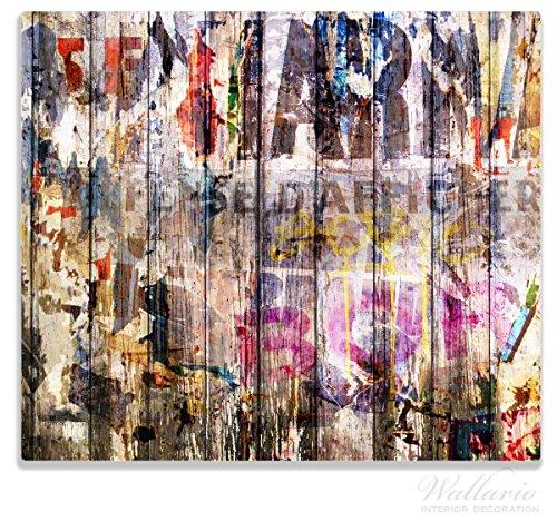 Wallario Herdabdeckplatte / Spitzschutz aus Glas, 1-teilig, 60x52cm, für Ceran- und Induktionsherde, Bemalte Holzplanken mit alter Schrift Holz Herd-abdeckung