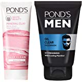 Pond's White Beauty Mineral Clay Instant Brightness Face wash Foam 90g And POND'S Men Oil Clear Facewash, Anti-Dullness Cooli