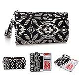 Kroo Handy, der Wristlet Ledertasche mit Kreditkarte Halter passt für Allview P7Xtreme/Viper i V1 mehrfarbig schwarz