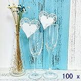 JZK 100 Bianco cuore segna posto segnaposto segnatavolo segnabicchiere bomboniera per matrimonio compleanno nascita battesimo comunione Natale segnaposti segna bicchiere