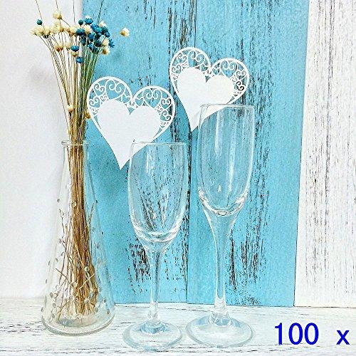 JZK® 100 x nacarado blanco corazón encendido resplandor de copa de vino nombre de tarjeta tarjeta del lugar número de mesa decoración para el bautismo comunión boda fiesta de cumpleaños o en otras ocasiones
