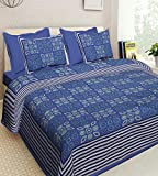#9: Bedding King Original Jaipuri Print 100% Pure Cotton King Size Bedsheet For Double Bed With 2 Pillow Covers (Jaipur Bedspreads)