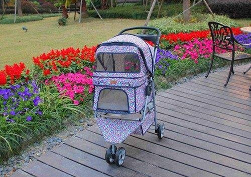 new-bestpet-pink-leopard-3wheels-pet-dog-cat-stroller-w-raincover-by-bestpet