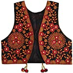 Trendish Women's Cotton Kutchi Multi Colored Embroidery Mirror Work Jacket (Black & Red_Free Size)