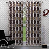 Homely 2 Piece Polyester Motif Door Curtains Set - 7 ft, Coffee