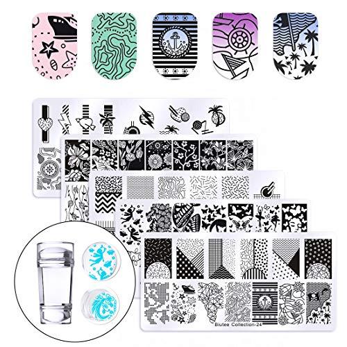 Biutee Ket di Nail Art Stamping 5pcs Nail Template Piastra per Unghie+1pcs Stamper Per manicure