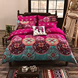 Vaulia Lightweight Polyester Microfiber Duvet Cover Set, Bohemia Exotic Patterns Design, Bright Pink - King Size