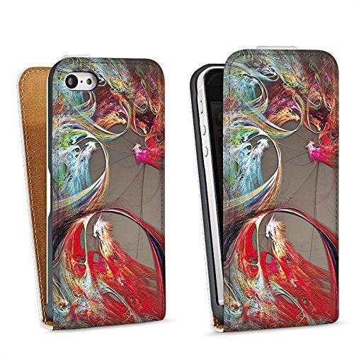 Apple iPhone 5s Housse Étui Protection Coque Chinois Dragon Motif Sac Downflip blanc