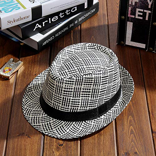 WGYXM Hat, British Plaid Jazz hat Straw hat Outdoor Summer travel Visor hat, Black, M -