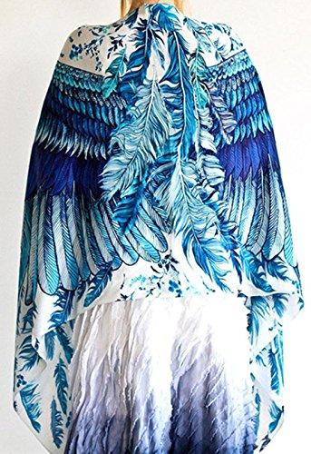 confit you - Damen Chiffonartiger Gemustertes Strandkimono, Cape, Viele Farben Blau