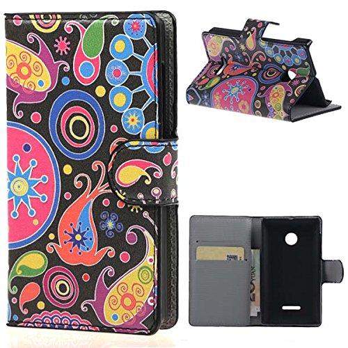 Custodia per Lumia 435,PU Cuoio Flip Cover Portafoglio Casi Protettiva in Pelle Custodia per Nokia Lumia 435 Case Caso Guscio on carte di credito slot(Logo di magia)
