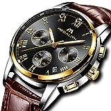 Herren Uhren Lederarmband Männer Chronograph Luxus Mode Wasserdicht Sport Datum Kalender Analog Quarz Uhr Geschäfts Beiläufig Kleid Armbanduhr mit Römische Ziffern Zifferblatt (Schwarz)