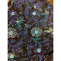 Seta e filati nero con paillette lurex per contorno, tm2 larghezza 100 cm