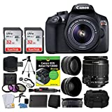 #1: Canon EOS Rebel DSLR T6 Camera Body + Canon 18-55mm EF-S IS II Autofocus Lens + Wide Angle & 2x 58mm Lens + SanDisk 64GB Card + T6/1300D for Dummies + Vivitar Gadget Bag + Quality Tripod + Deluxe Kit