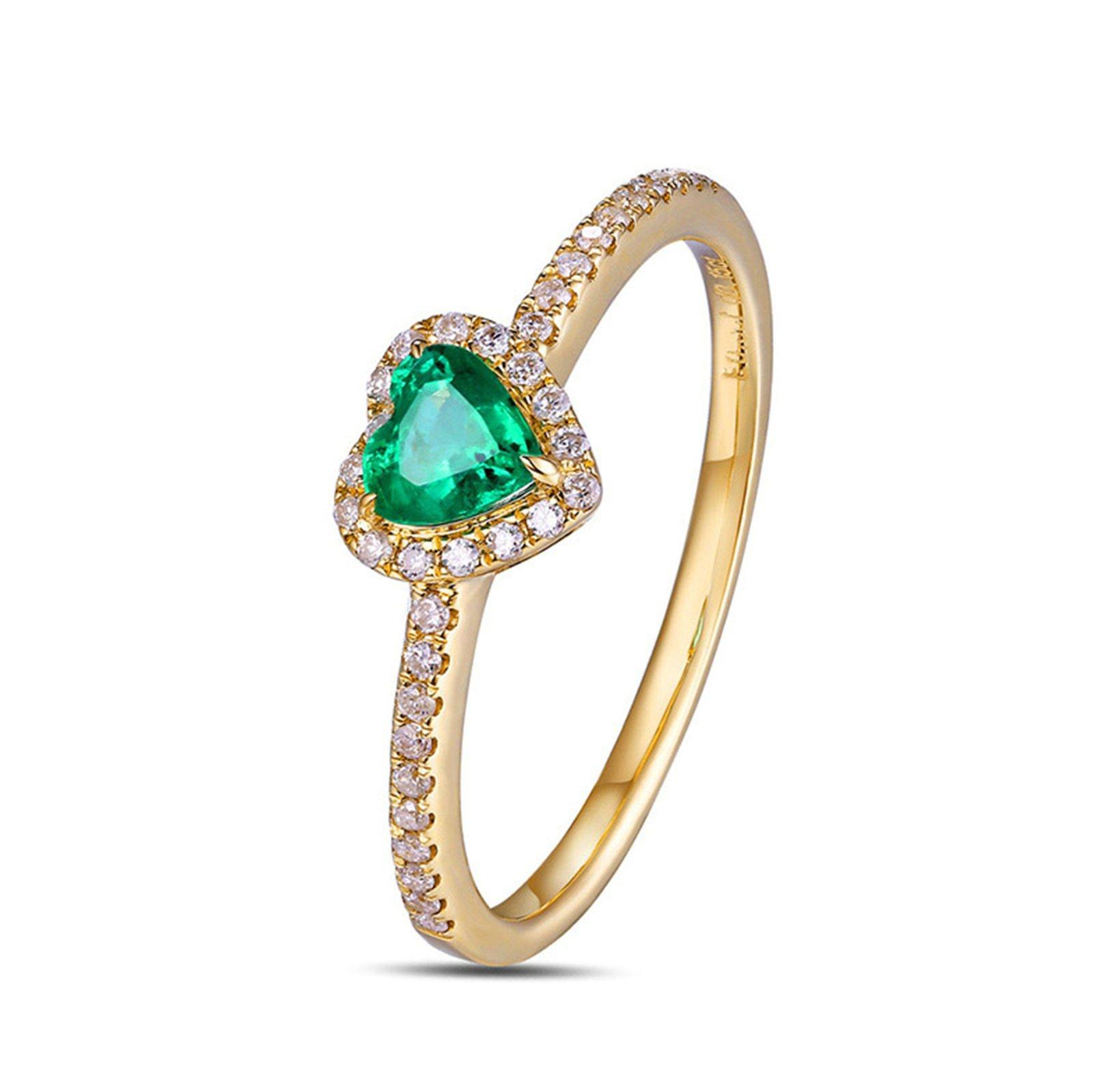 KnSam Ring Gold 18 Karat Damen Goldring 18 Karat Herz Trauring Natürlich 0.3 Carat Smaragd 0.15 Carat Diamant Grün 1