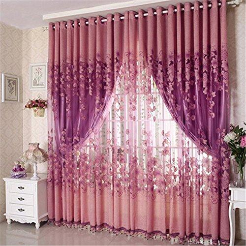 Tangbasi, tende floreali in tulle, a pannello, semi trasparenti, mantovana, poliestere, purple, taglia unica