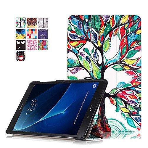 Galaxy Tab A6 SM-T580 Hülle, Synthetik-Leder und TPU Backcover Etui Flip Tasche für Samsung Galaxy Tab A (2016) SM-T580N/T585N 25,54 cm (10,1 Zoll) Tablette mit Holder Stand (#2 Bunte Baum)
