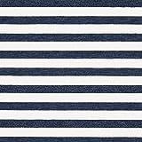 Fabulous Fabrics Sommersweat Stoff Streifen | by Poppy – Marineblau/Weiss — Meterware ab 0,5m — Oeko-Tex Standard 100 — zum Nähen von Kinderbekleidung, Kleidern und Tops und Shirts