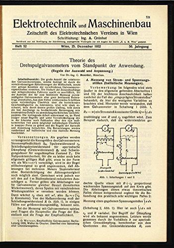 Theorie des Drehspulgalvanometers vom Standpunkt der Anwendung. (Regeln der Auswahl und Anpassung.), in: ELEKTRONIK UND MASCHINENBAU, Heft 52/1932 (50. Jg.).