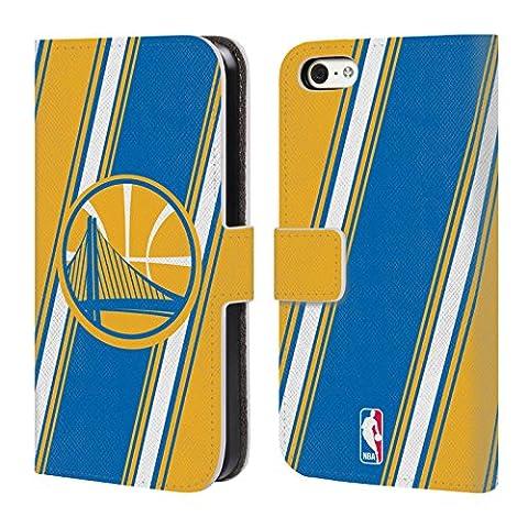 Officiel Nba Rayures Golden State Warriors Étui Coque De Livre En Cuir Pour Apple iPhone 5c