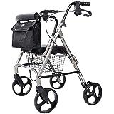 Walking Stick, 4 Wheel Rolling Walker with Seat & Bag -Senior Shopping Trolley- Mobility Aid for Adult, Senior, Elderly & Han