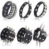 falllea 6 Pcs Unisex Black Metal Spike Studded Punk Bracelet Leather Rivets Bracelet Cuff for Mens Womens Rock Vintage Gothic